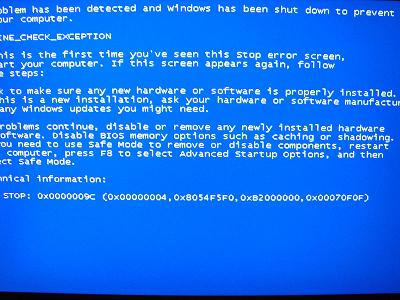 블루스크린, MS Windows Blue Screen