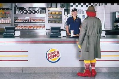 Ronald McDonald ordering at Burger King