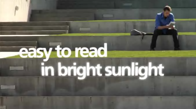 Kindle: easy to read in bright sunlight