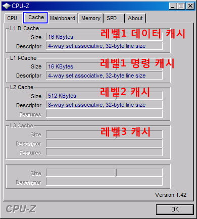 CPU-Z CPU 캐시 정보