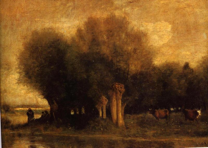 <Camile Corot, Sales au bord de l'eau, vers 1855, 46x62cm, Huile sur toile>