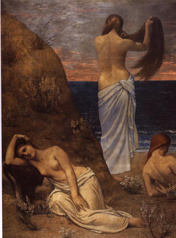 <Pierre Puvis de Chavannes, Jeunes filles au bord de la mer, 1879, 61x47cm, Huile sur toile>