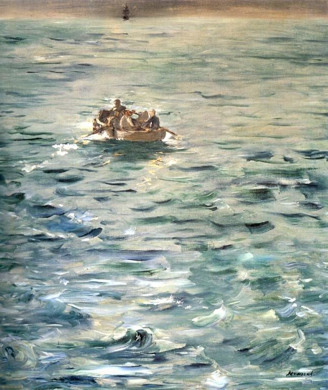 <Edouard Manet, L'Evasion de Rochoefort, 1880-1881, 80X73cm, Huile sur toile>